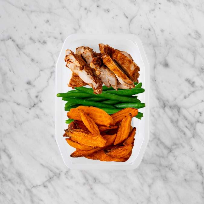100g Chipotle Chicken Thigh 100g Green Beans 200g Sweet Potato Fries
