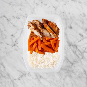 100g Chipotle Chicken Thigh 100g Honey Baked Carrots 150g Basmati Rice
