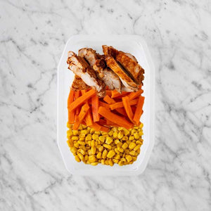 100g Chipotle Chicken Thigh 100g Honey Baked Carrots 250g Corn