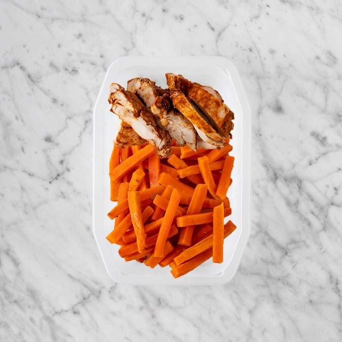 100g Chipotle Chicken Thigh 100g Honey Baked Carrots 150g Honey Baked Carrots