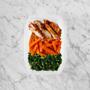 100g Chipotle Chicken Thigh 100g Honey Baked Carrots 250g Kale