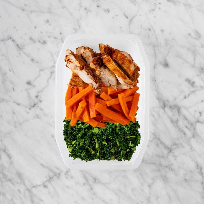 100g Chipotle Chicken Thigh 100g Honey Baked Carrots 100g Kale