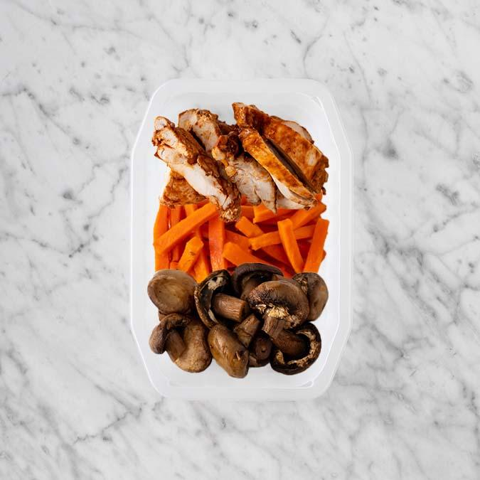 100g Chipotle Chicken Thigh 100g Honey Baked Carrots 250g Mushrooms