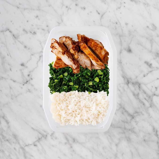 100g Chipotle Chicken Thigh 100g Kale 50g Basmati Rice