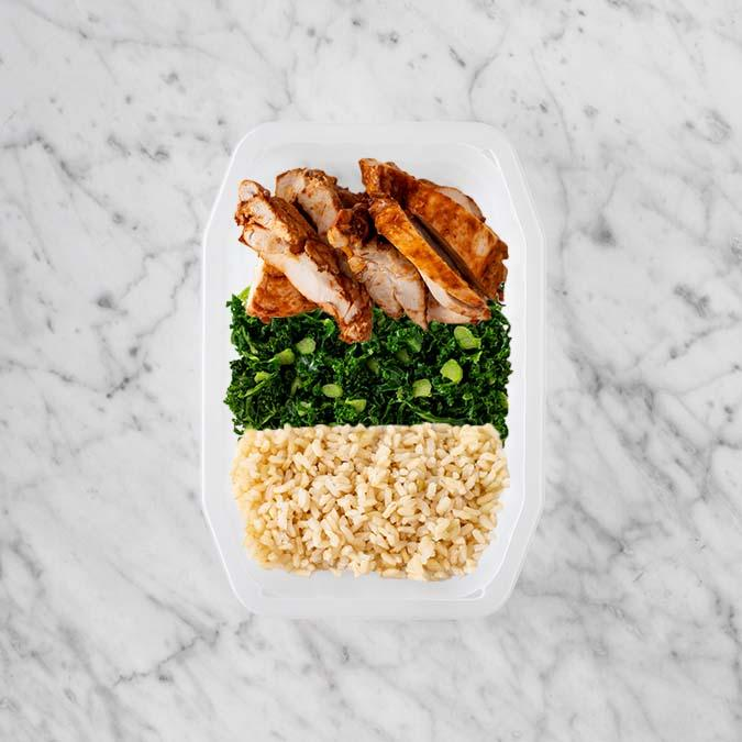 100g Chipotle Chicken Thigh 100g Kale 250g Brown Rice