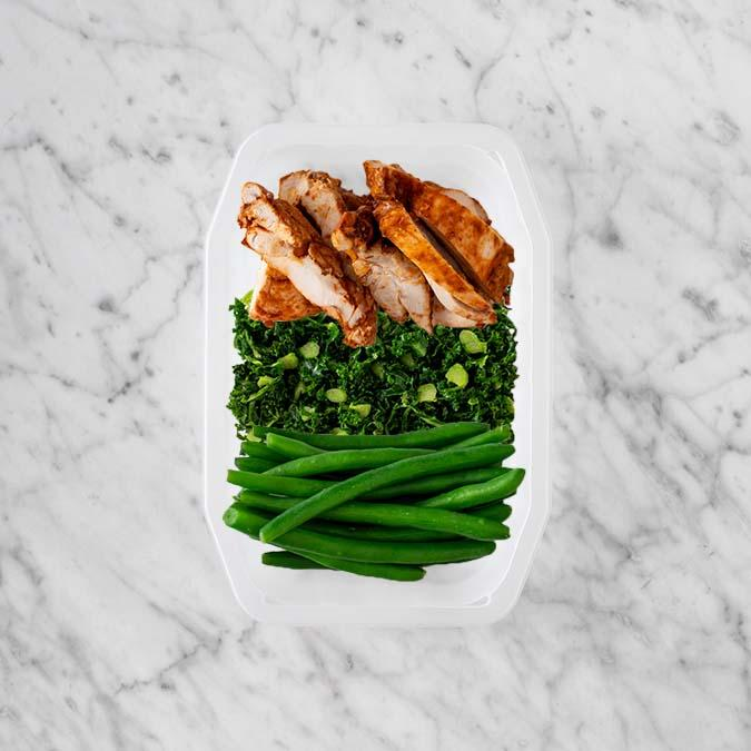 100g Chipotle Chicken Thigh 100g Kale 100g Green Beans