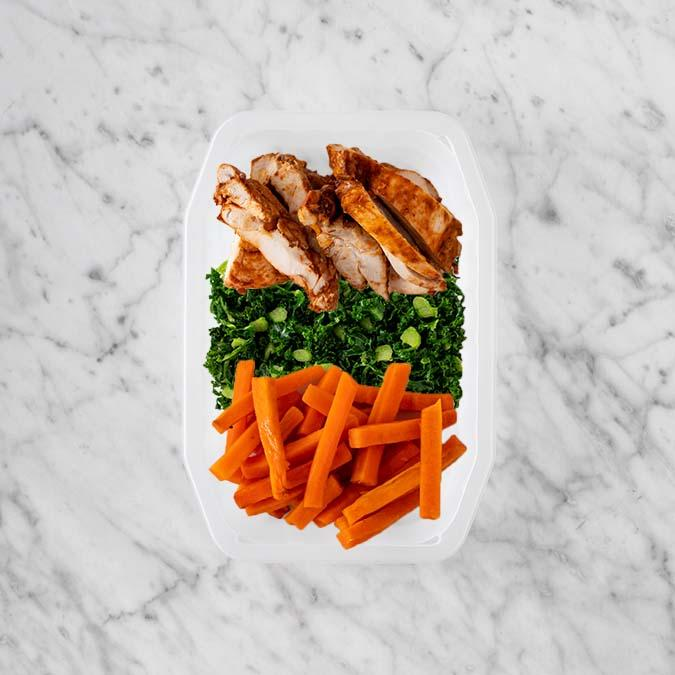 100g Chipotle Chicken Thigh 100g Kale 150g Honey Baked Carrots