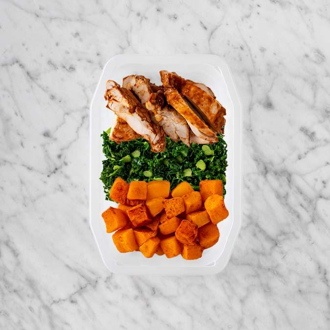 100g Chipotle Chicken Thigh 100g Kale 250g Rosemary Baked Sweet Potato