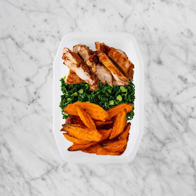 100g Chipotle Chicken Thigh 100g Kale 250g Sweet Potato Fries