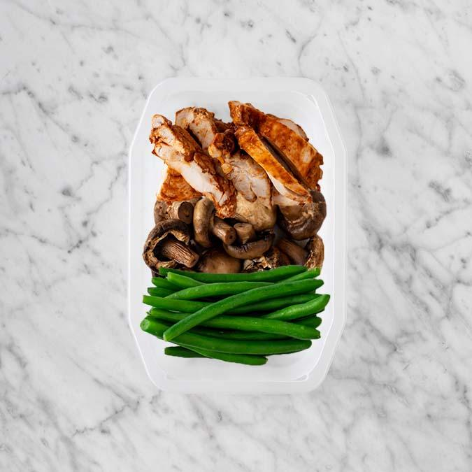 100g Chipotle Chicken Thigh 100g Mushrooms 250g Green Beans