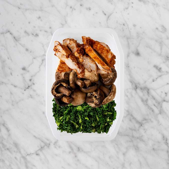100g Chipotle Chicken Thigh 100g Mushrooms 200g Kale