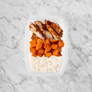100g Chipotle Chicken Thigh 150g Rosemary Baked Sweet Potato 100g Basmati Rice