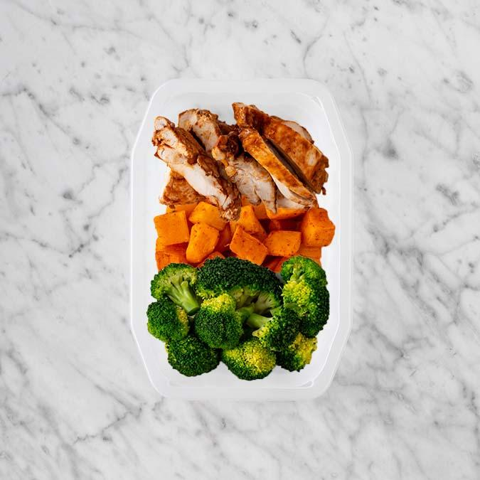 100g Chipotle Chicken Thigh 150g Rosemary Baked Sweet Potato 100g Broccoli