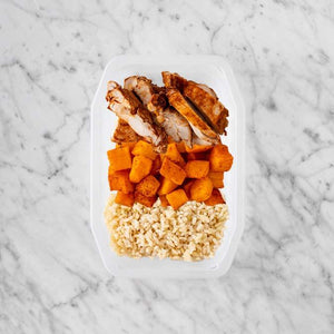 100g Chipotle Chicken Thigh 150g Rosemary Baked Sweet Potato 200g Brown Rice
