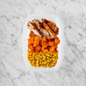 100g Chipotle Chicken Thigh 150g Rosemary Baked Sweet Potato 100g Corn