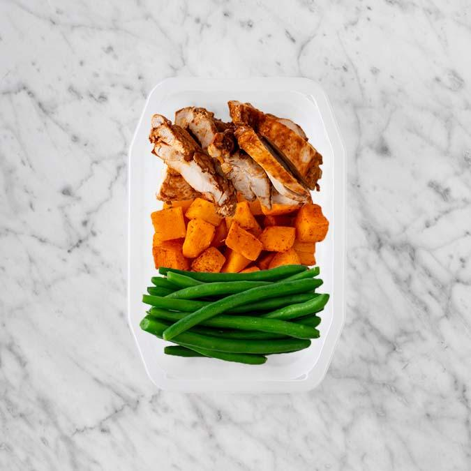 100g Chipotle Chicken Thigh 100g Rosemary Baked Sweet Potato 100g Green Beans