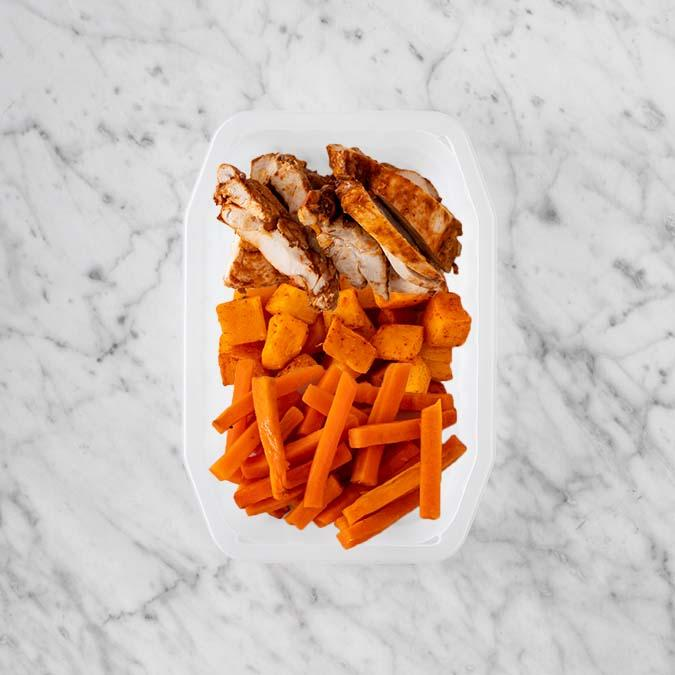 100g Chipotle Chicken Thigh 150g Rosemary Baked Sweet Potato 100g Honey Baked Carrots