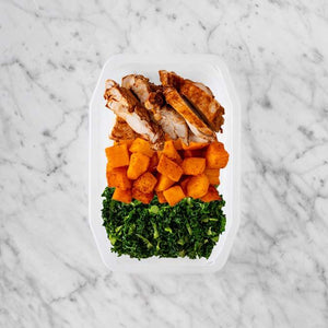 150g Chipotle Chicken Thigh 200g Rosemary Baked Sweet Potato 250g Kale
