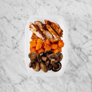 100g Chipotle Chicken Thigh 150g Rosemary Baked Sweet Potato 250g Mushrooms
