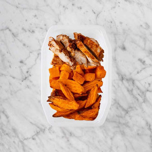 150g Chipotle Chicken Thigh 200g Rosemary Baked Sweet Potato 50g Sweet Potato Fries