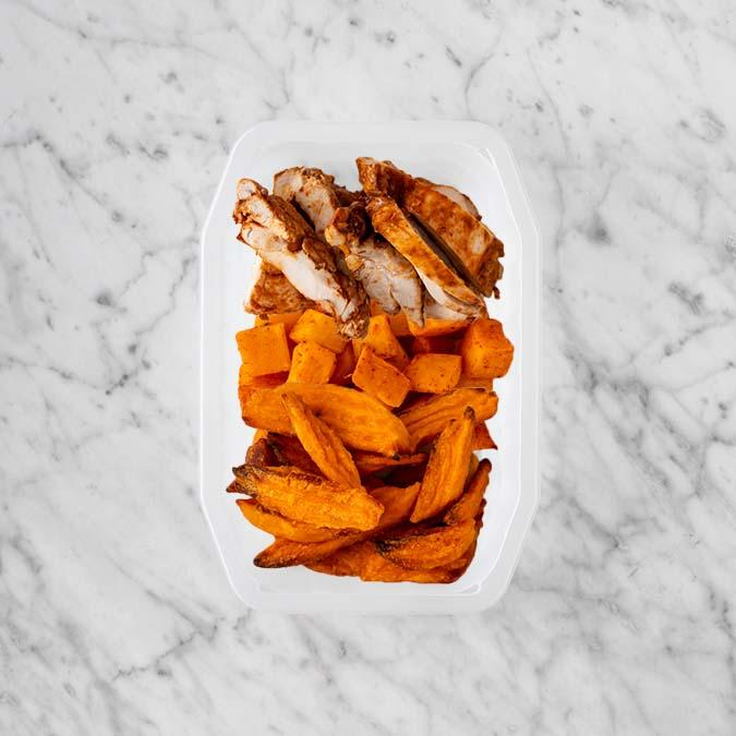 100g Chipotle Chicken Thigh 150g Rosemary Baked Sweet Potato 50g Sweet Potato Fries