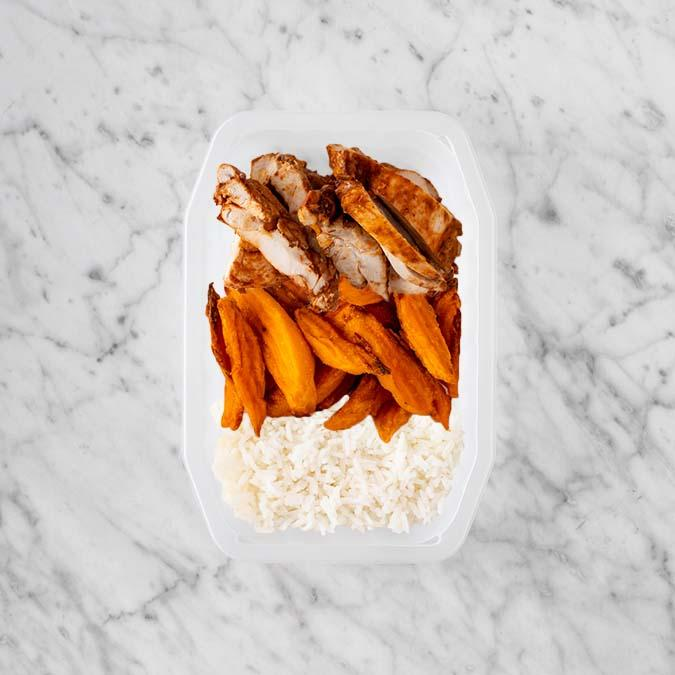 100g Chipotle Chicken Thigh 150g Sweet Potato Fries 150g Basmati Rice