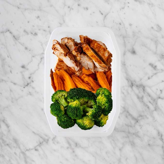 100g Chipotle Chicken Thigh 150g Sweet Potato Fries 50g Broccoli