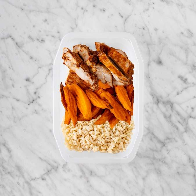 150g Chipotle Chicken Thigh 200g Sweet Potato Fries 200g Brown Rice