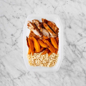100g Chipotle Chicken Thigh 150g Sweet Potato Fries 50g Brown Rice