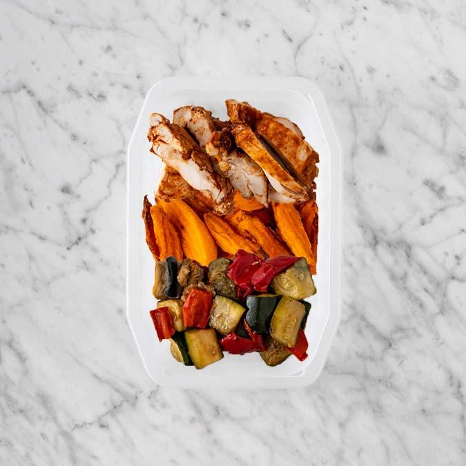 100g Chipotle Chicken Thigh 150g Sweet Potato Fries 200g Char Veg
