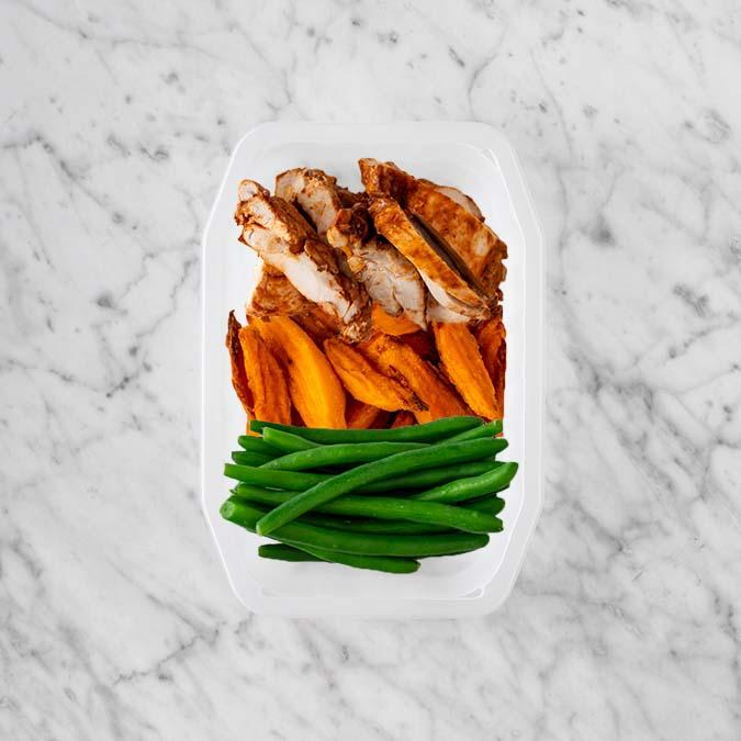 150g Chipotle Chicken Thigh 200g Sweet Potato Fries 50g Green Beans