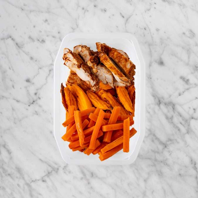100g Chipotle Chicken Thigh 150g Sweet Potato Fries 250g Honey Baked Carrots