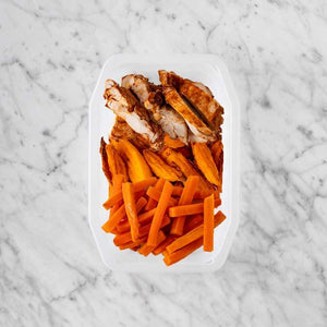 100g Chipotle Chicken Thigh 150g Sweet Potato Fries 200g Honey Baked Carrots