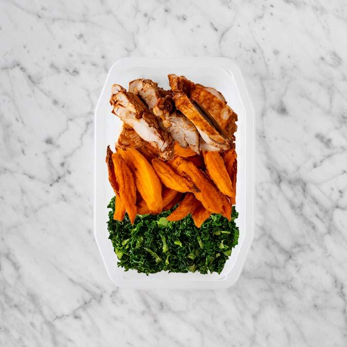 100g Chipotle Chicken Thigh 150g Sweet Potato Fries 50g Kale