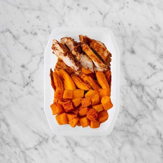 100g Chipotle Chicken Thigh 150g Sweet Potato Fries 50g Rosemary Baked Sweet Potato