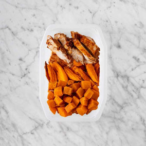 100g Chipotle Chicken Thigh 150g Sweet Potato Fries 50g Smokey Pumpkin