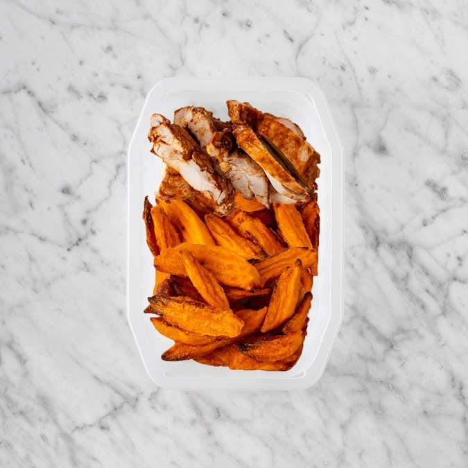 100g Chipotle Chicken Thigh 150g Sweet Potato Fries 250g Sweet Potato Fries