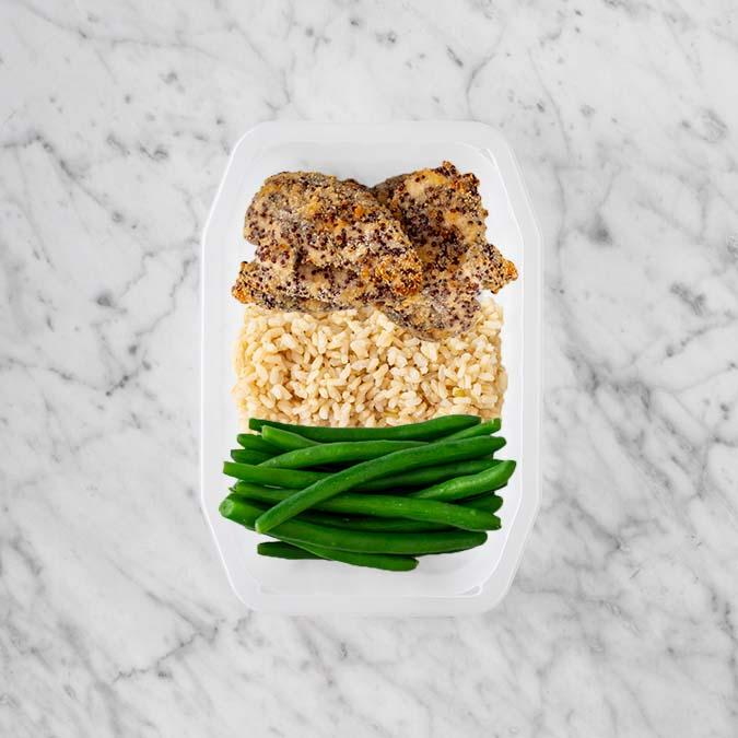 100g Crusted Chicken 150g Brown Rice 100g Green Beans