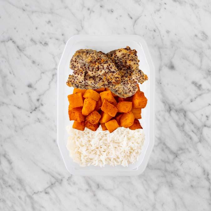 100g Crusted Chicken 150g Rosemary Baked Sweet Potato 150g Basmati Rice