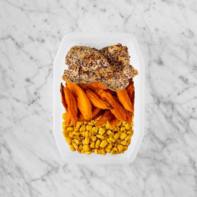 100g Crusted Chicken 150g Sweet Potato Fries 100g Corn