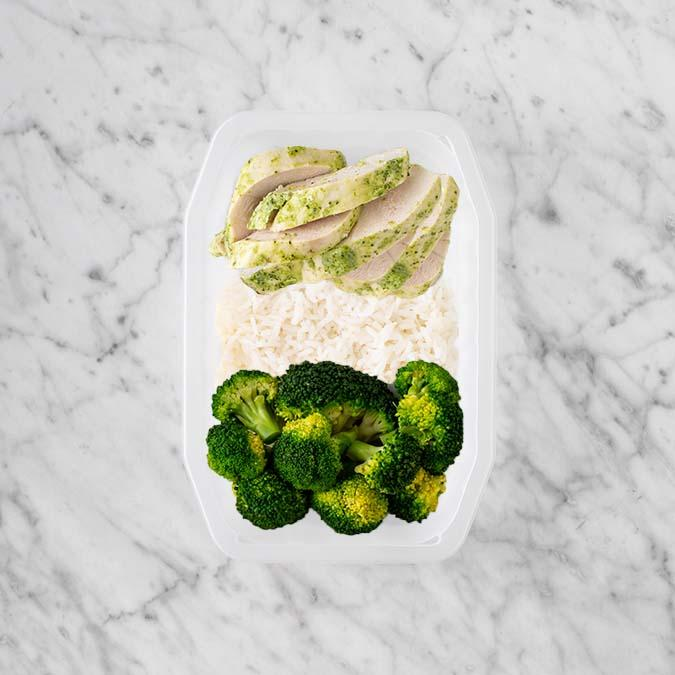 100g Garlic Herb Chicken Breast 50g Basmati Rice 50g Broccoli