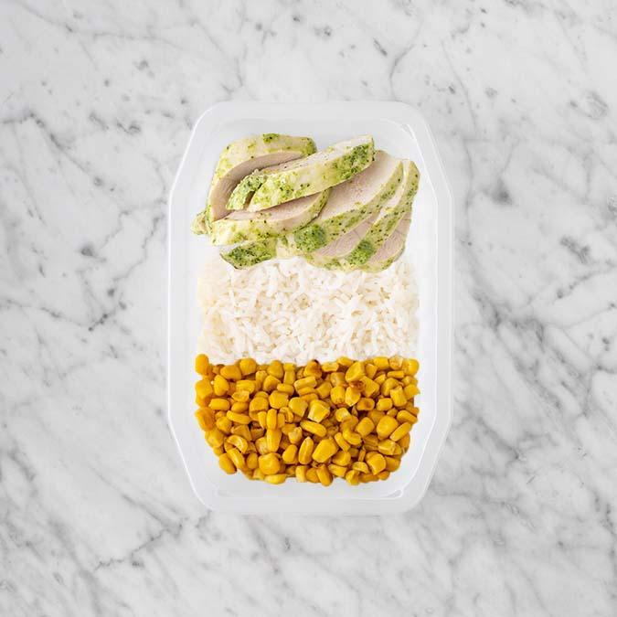 100g Garlic Herb Chicken Breast 150g Basmati Rice 200g Corn