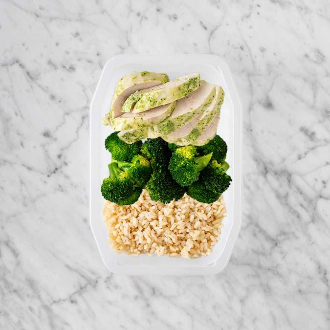 100g Garlic Herb Chicken Breast 50g Broccoli 150g Brown Rice