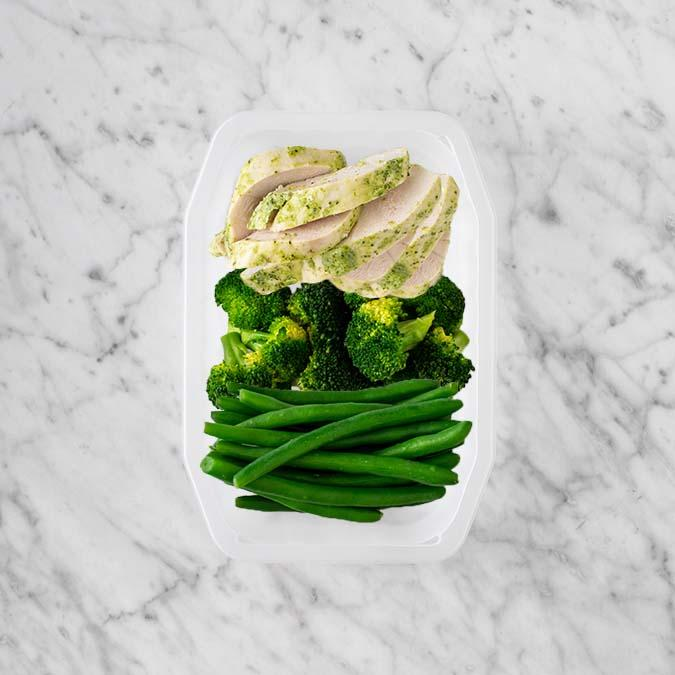 100g Garlic Herb Chicken Breast 50g Broccoli 150g Green Beans
