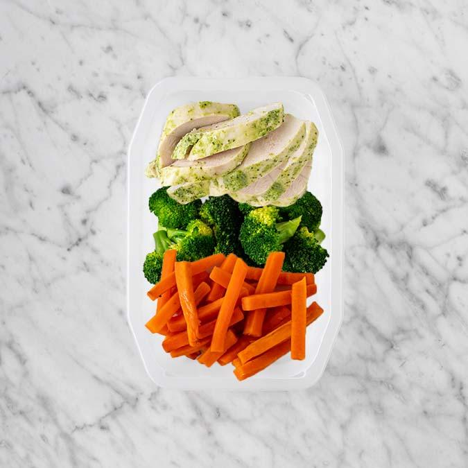 100g Garlic Herb Chicken Breast 50g Broccoli 200g Honey Baked Carrots