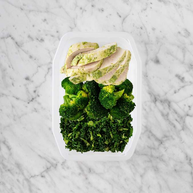 100g Garlic Herb Chicken Breast 50g Broccoli 150g Kale