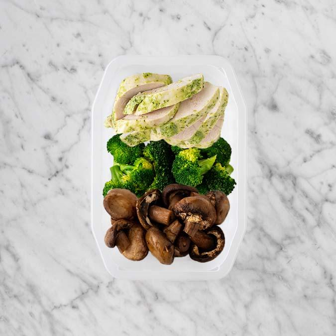 100g Garlic Herb Chicken Breast 50g Broccoli 150g Mushrooms