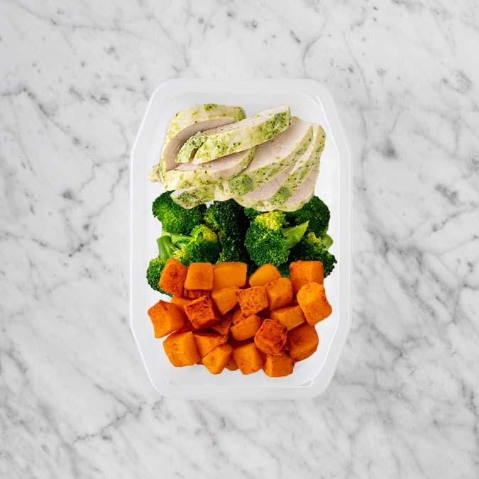 100g Garlic Herb Chicken Breast 50g Broccoli 200g Rosemary Baked Sweet Potato