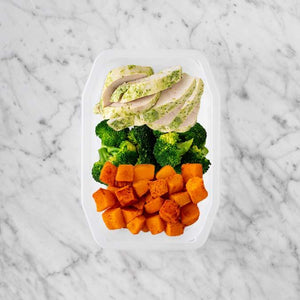 100g Garlic Herb Chicken Breast 50g Broccoli 100g Rosemary Baked Sweet Potato