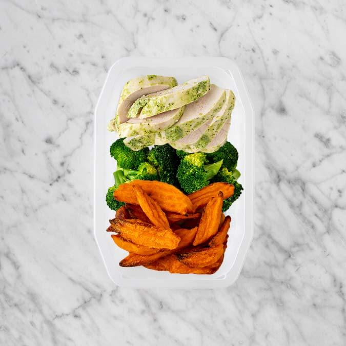 100g Garlic Herb Chicken Breast 50g Broccoli 250g Sweet Potato Fries
